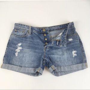 Gap Sexy Boyfriend Button Fly Distressed Shorts